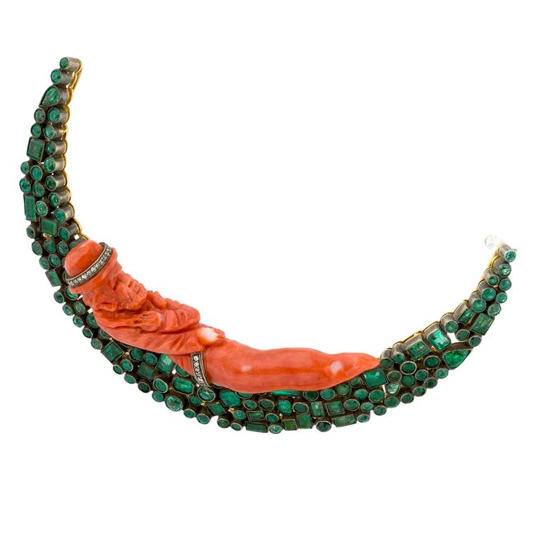 Coral and emerald Moon brooch