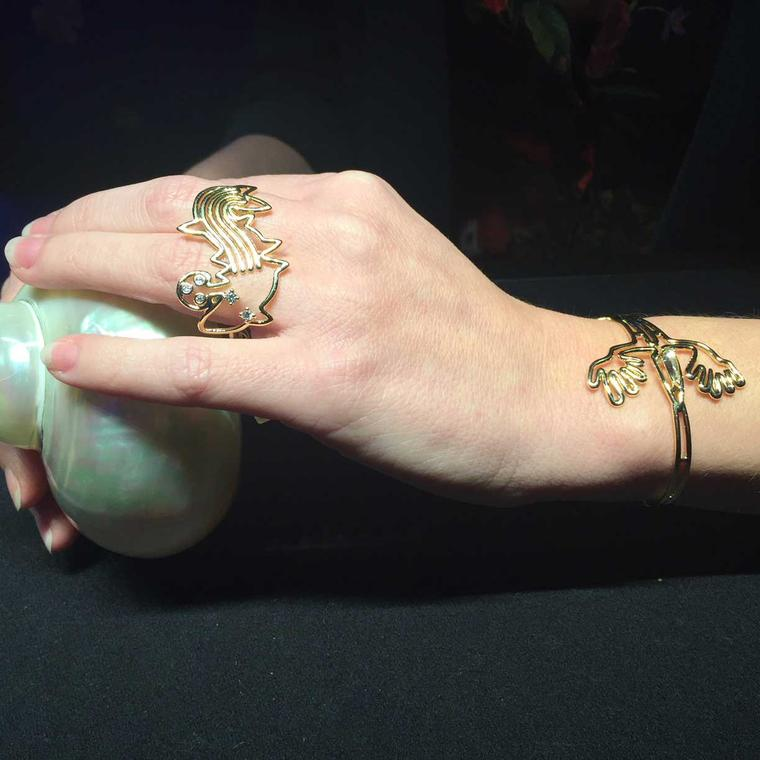 Lydia Courteille Nazca fish ring and lizard bracelet