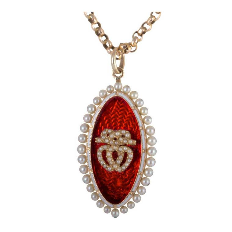 Melody Rodgers red enamel and seed pearl double heart pendant