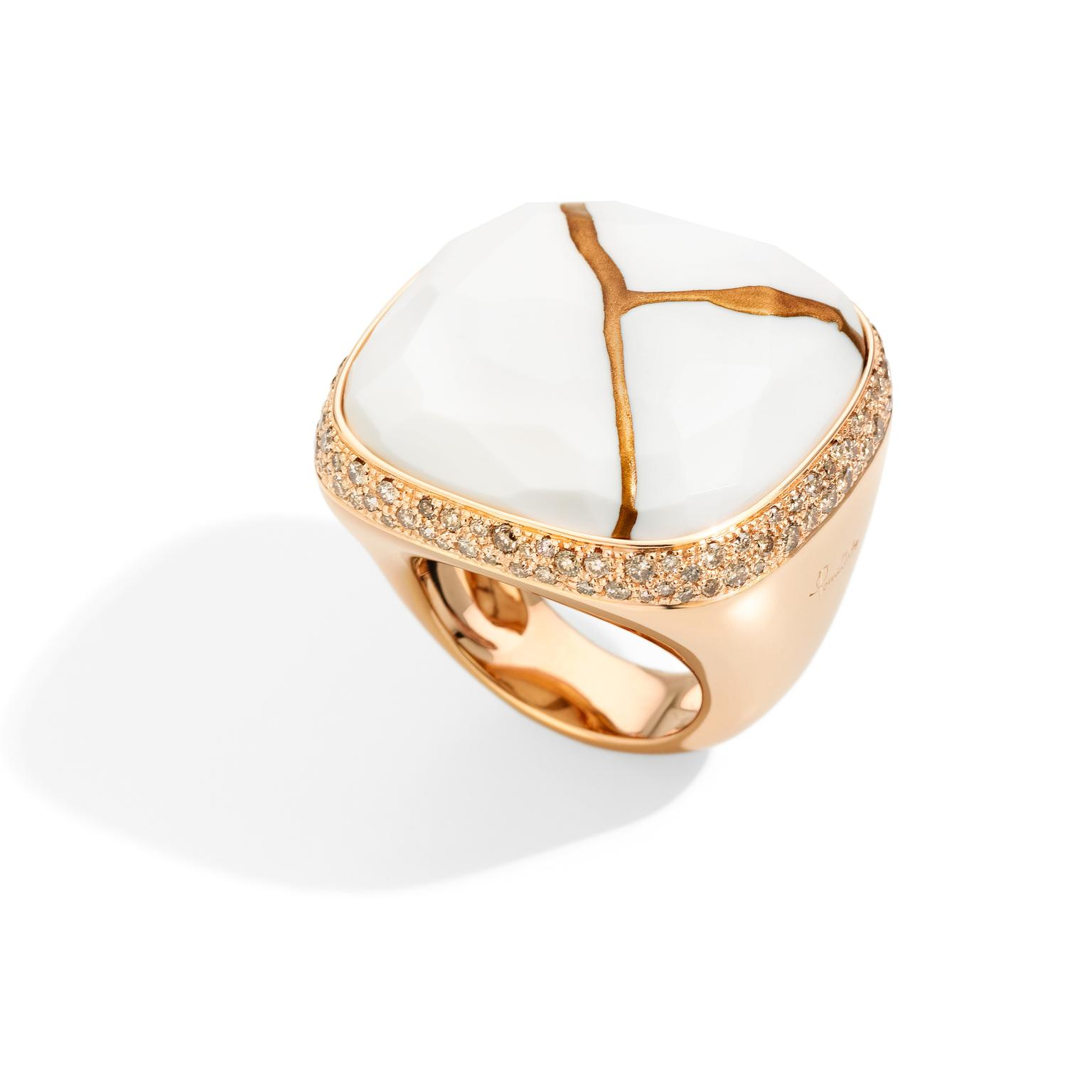 Pomellato Kintsugi Collection_ring in rose gold with kogolong and brown diamonds