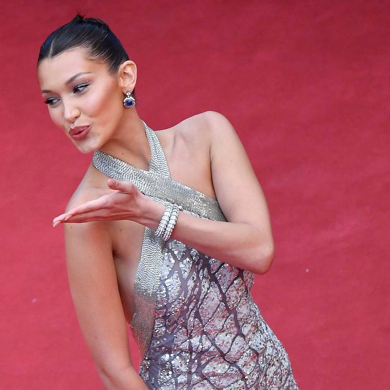 Bella Hadid in Bulgari Serpenti bracelets on Cannes red carpet 2018