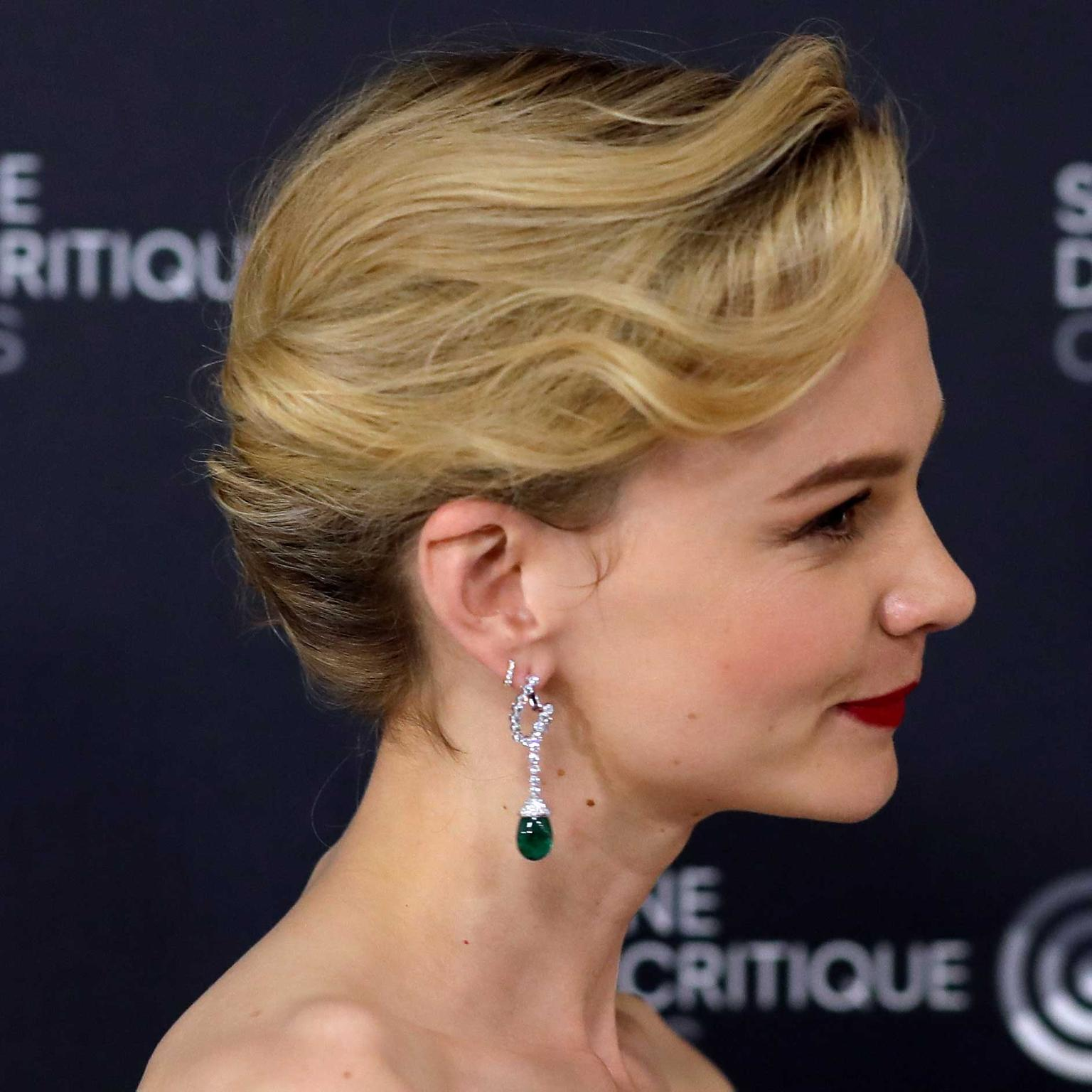 Carey Mulligan in Chaumet earrings at Cannes Film Festival 2018