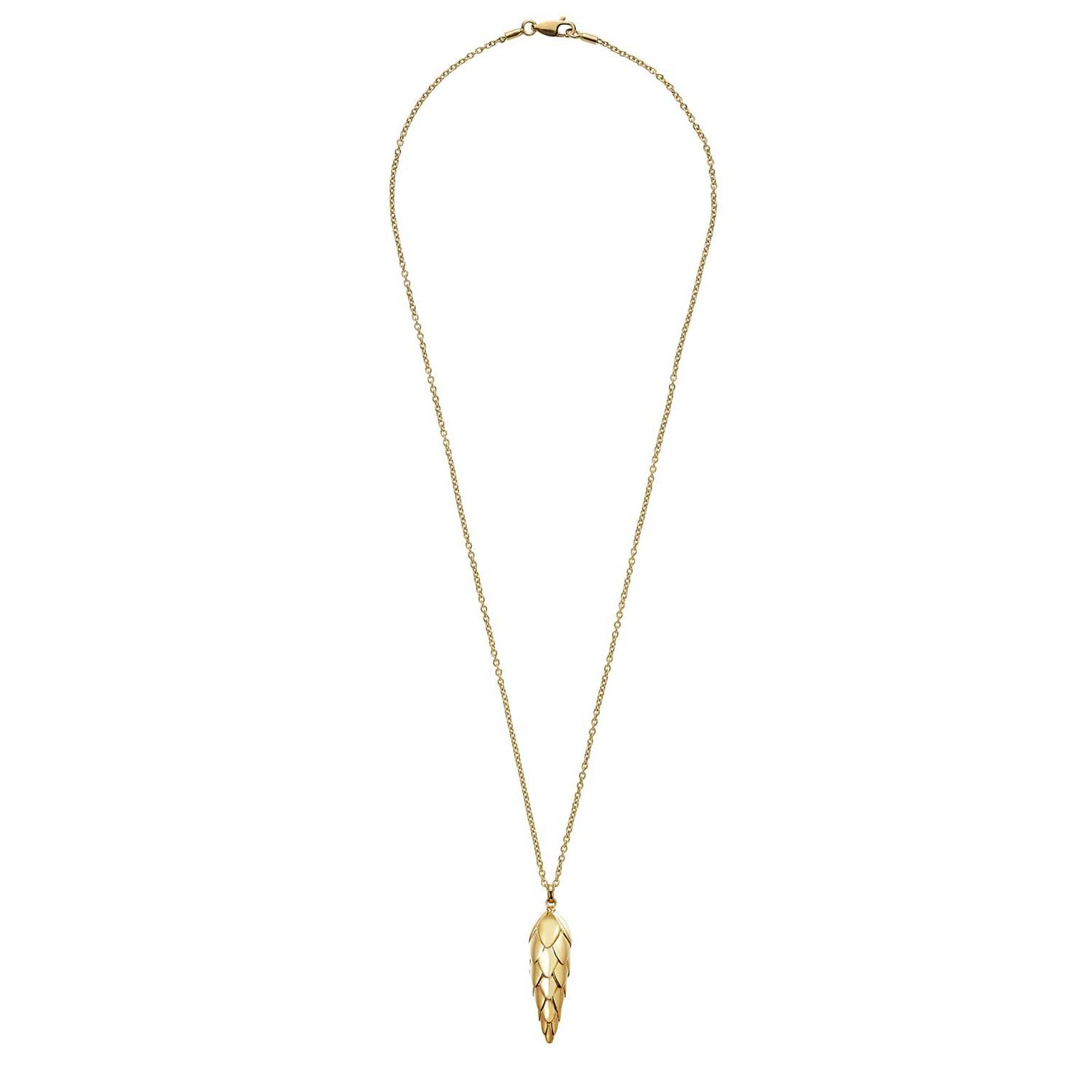 Patrick Mavros Pangolin Scale large pendant necklace in gold