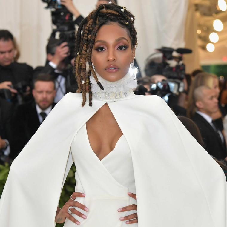 Jourdan Dunn in Bulgari jewels at Met Gala 2018 including Serpenti drop earrings with two matching rings and a Diva's Dream ring. Credit: Getty Images