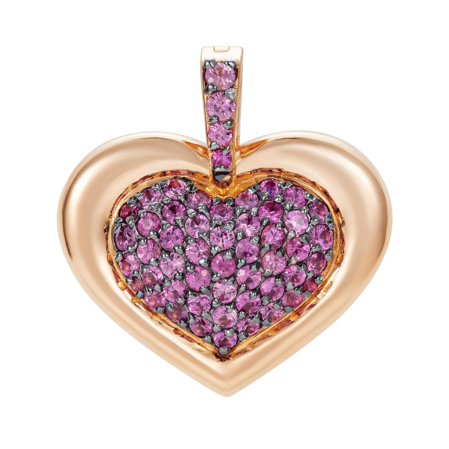 NAdine Aysoy PENDANT PINK SAPPHIRE HEART, 18K Rose Gold (5.61g) + Pink Sapphire 1.35 CT, $3420