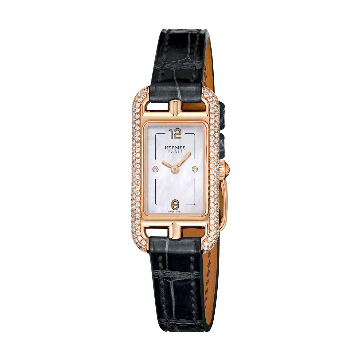 Hermes Nantucket Très Petit watch with diamonds