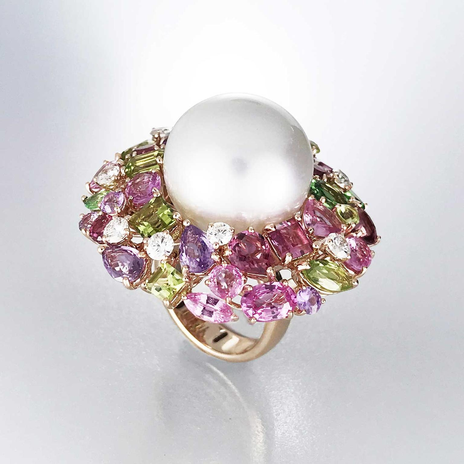 Margot McKinney Pink Orchid Australian South Sea pearl cocktail ring