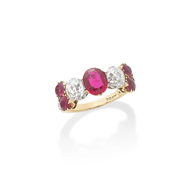 Ruby and diamond half-hoop ring auctionned by Bonhams - Lot 1