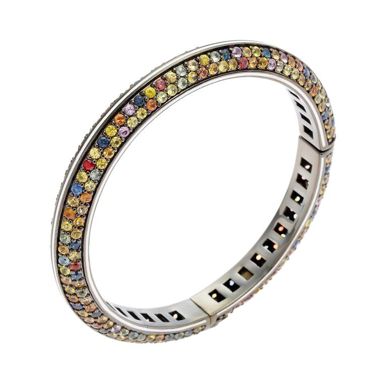 Matthew Campbell Laurenza Orbit silver bracelet with sapphires in black rhodium
