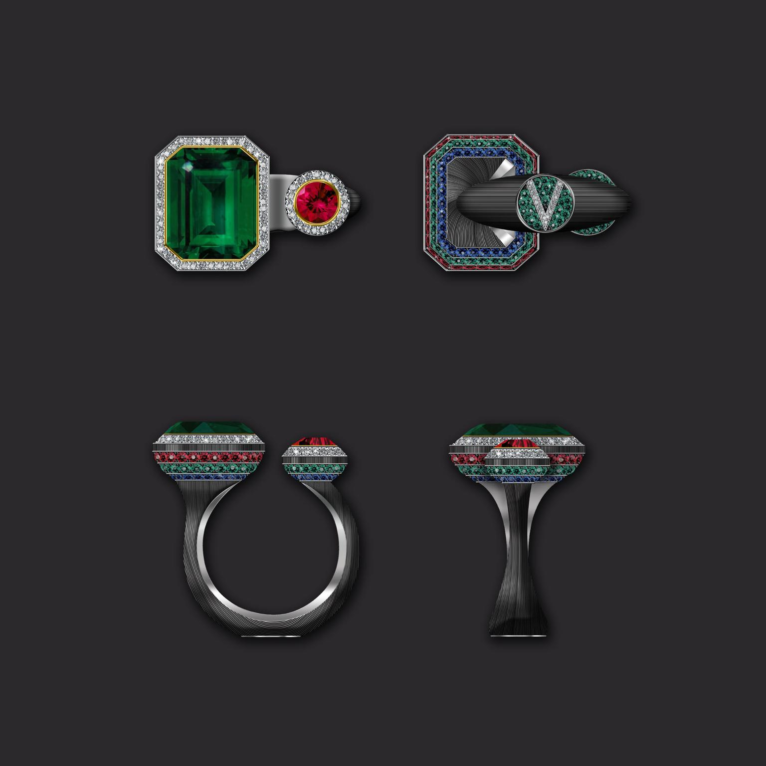 Maxim V ring with Zambian emerald ruby diamond and sapphire