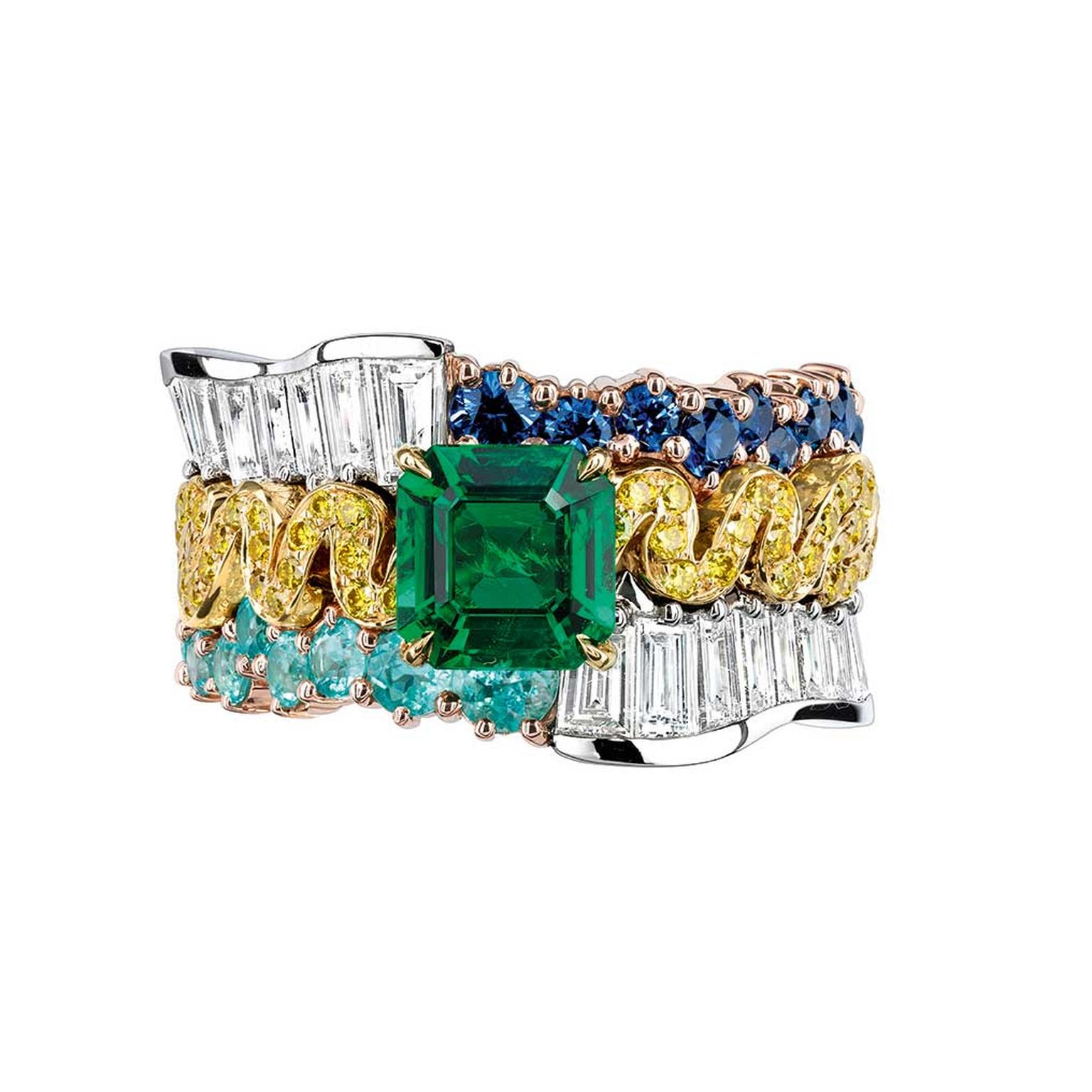 Dior Tresse Émeraude ring with emeralds and diamonds