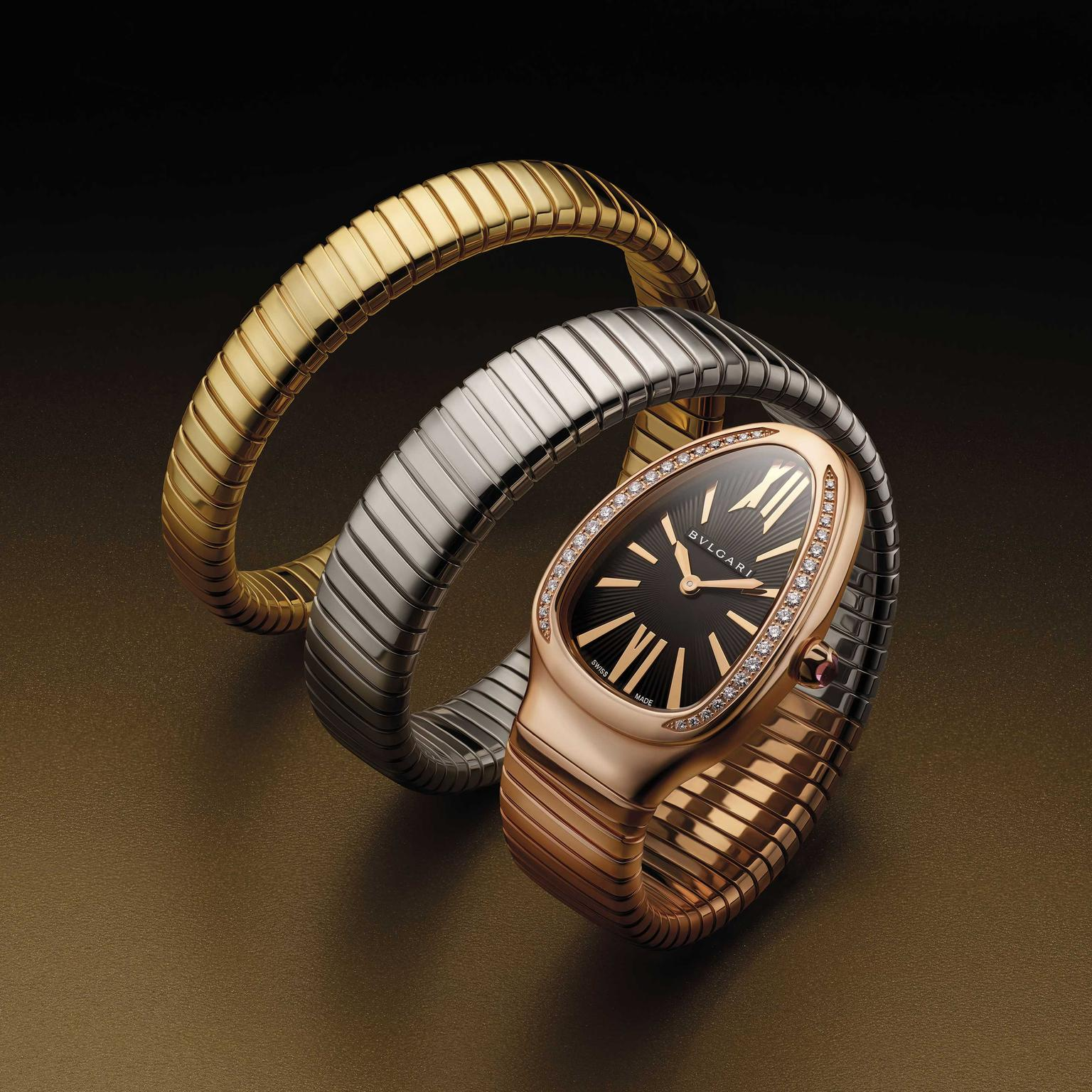 Bulgari Serpenti Tubogas double coil ladies watch in three colours of gold