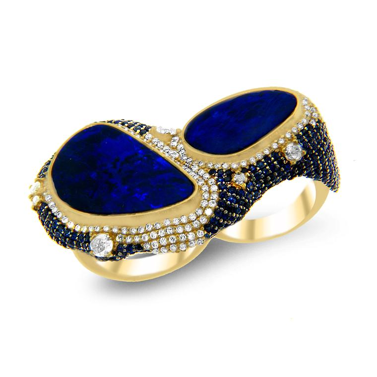 Doppio Anello two-finger black opal ring