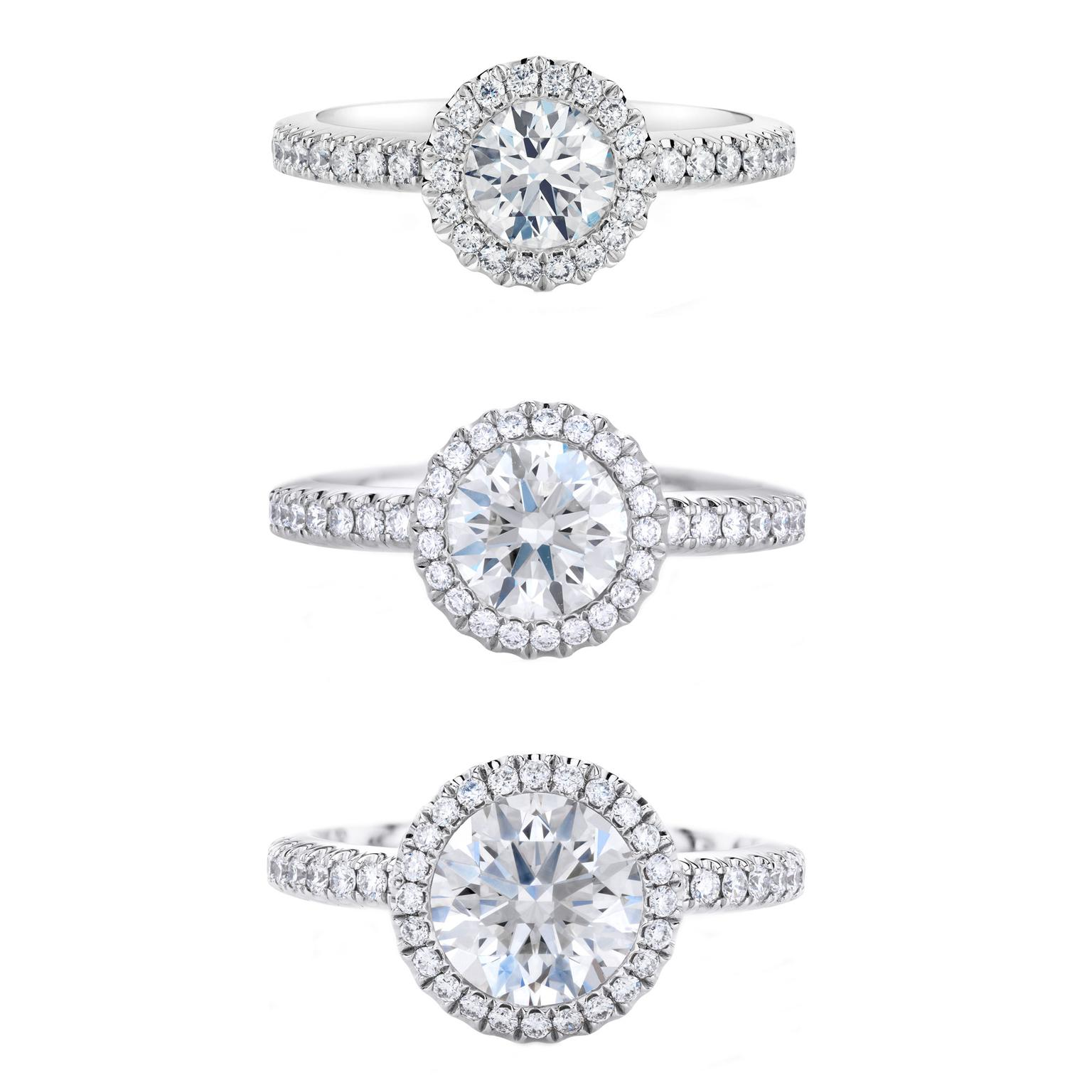 De Beers Aura diamond engagement rings 1ct, 1.5ct and 2ct