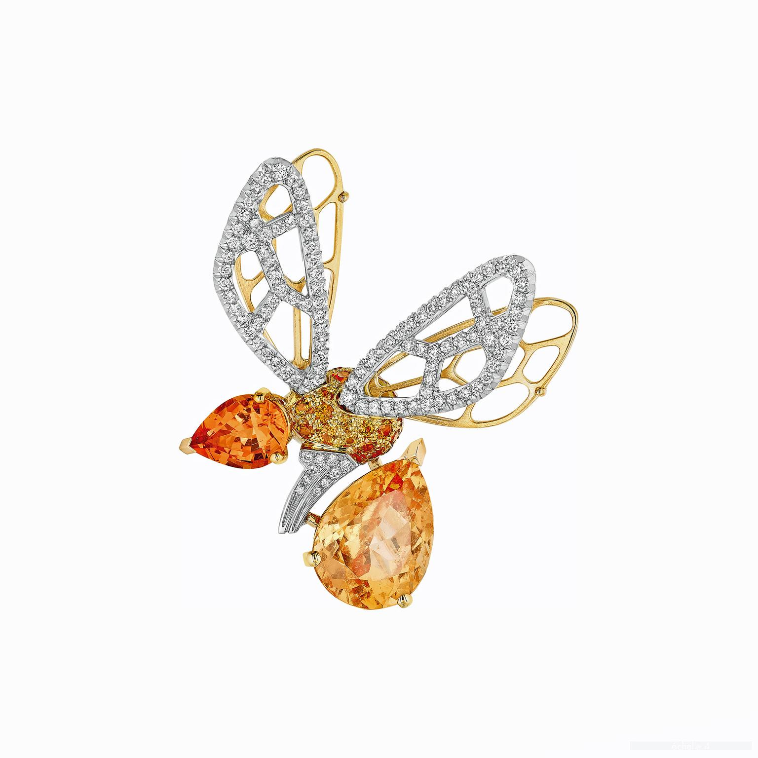 Chaumet Abeille orange tourmaline and hessonite garnet brooch