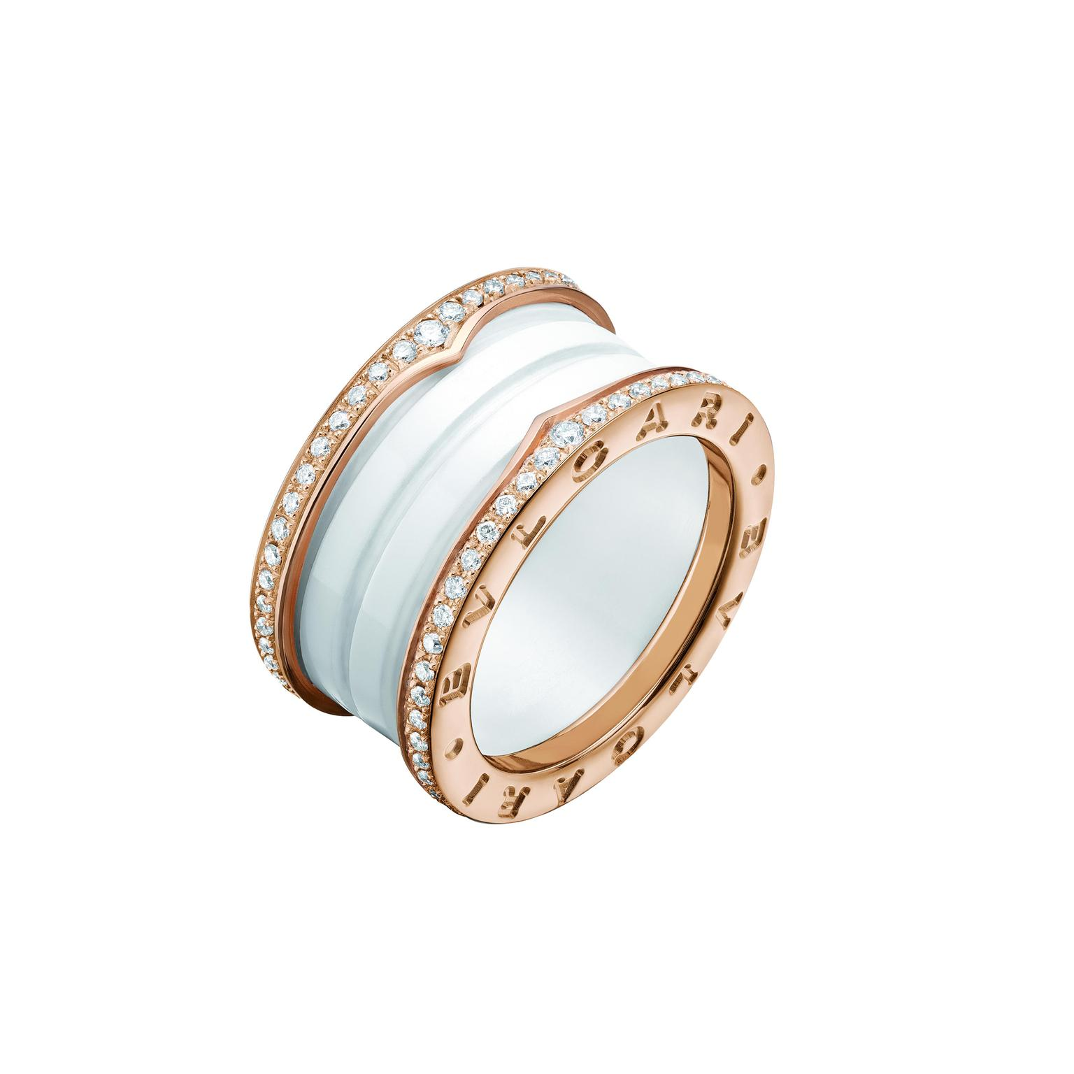 Bulgari rose gold and diamond ring