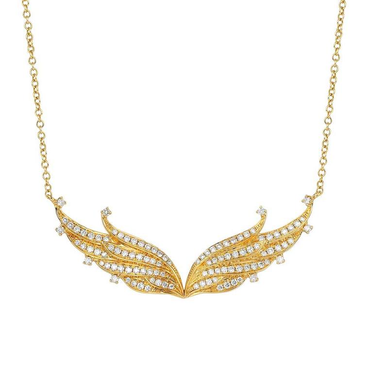 Sarah Zhuang yellow gold and diamond Angel necklace