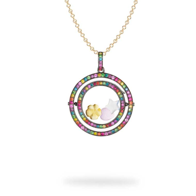 Rainbow Revolving Locket with diamonds and coloured gemstones