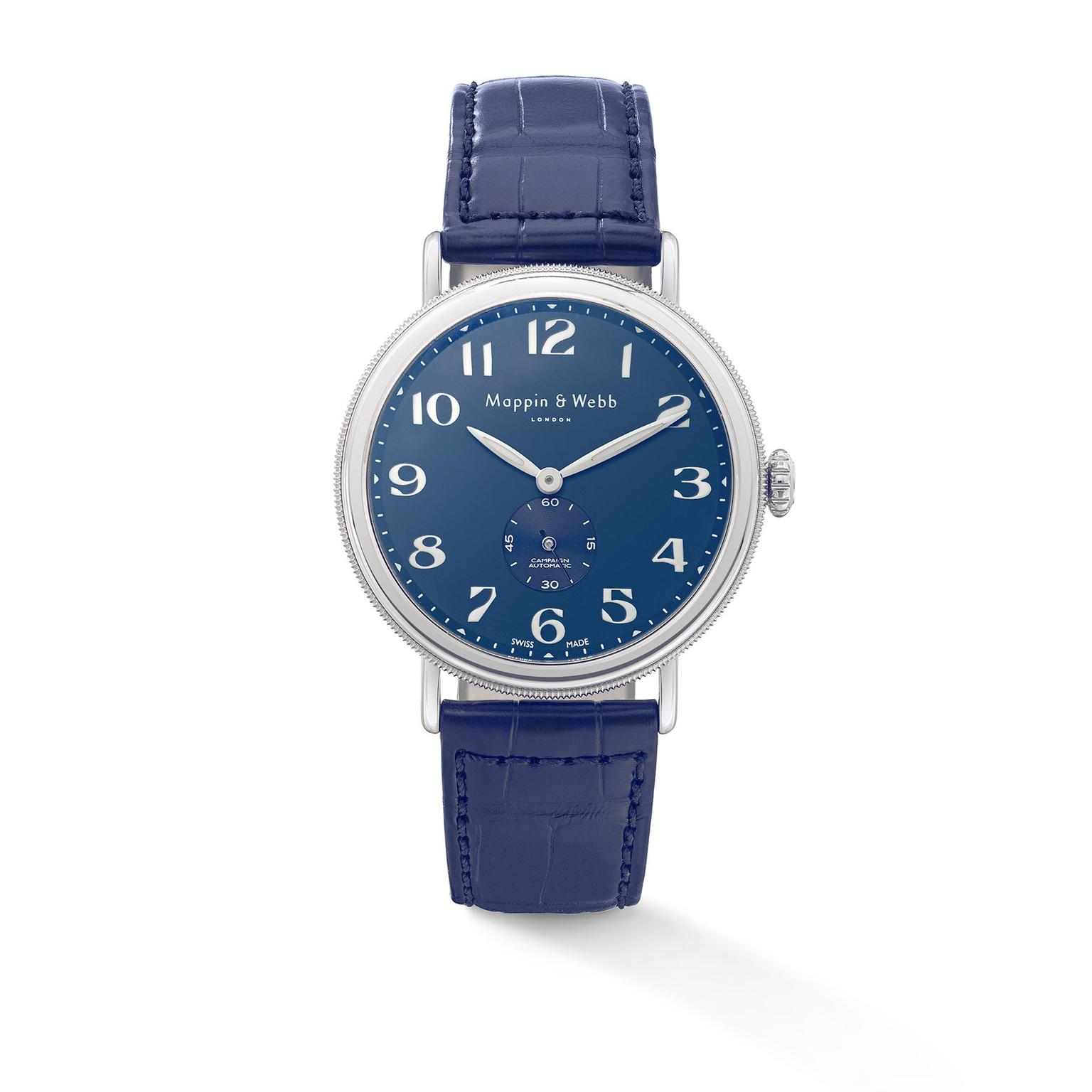 Mappin & Webb Campaign Automatic - blue crocodile skin strap and blue dial