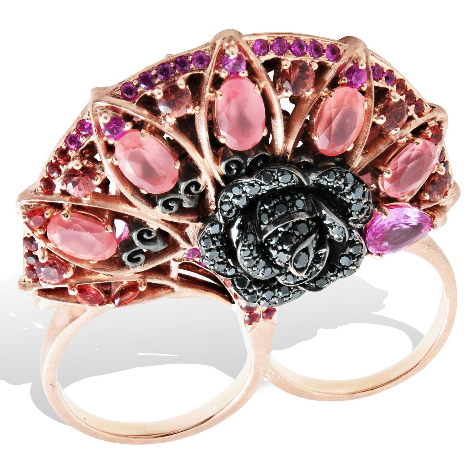 Lydia Courteille Rosa del Inca double finger rhodochrosite ring
