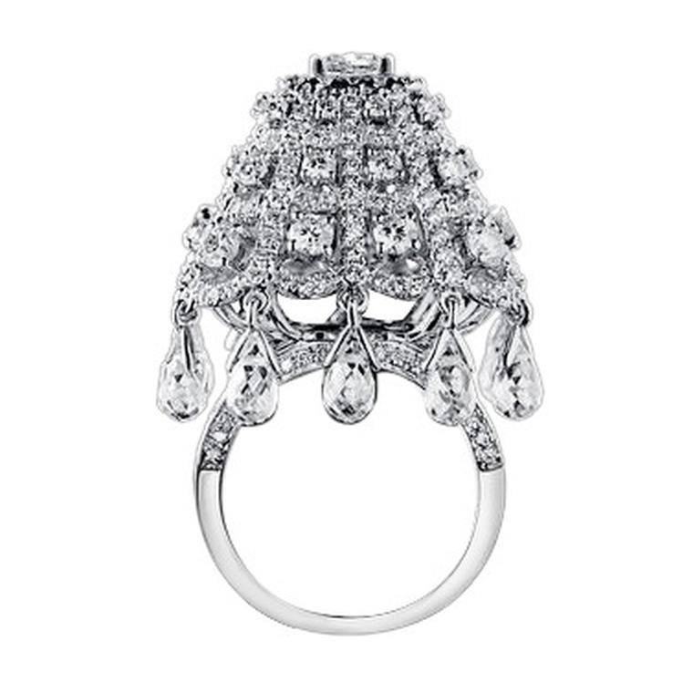 The Chandeliers cocktail ring from No. THIRTY THREE in 18 carat black gold with white diamonds, and white sapphire briolettes