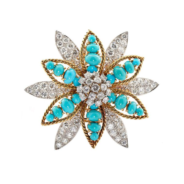 David Webb turquoise and diamond flower brooch