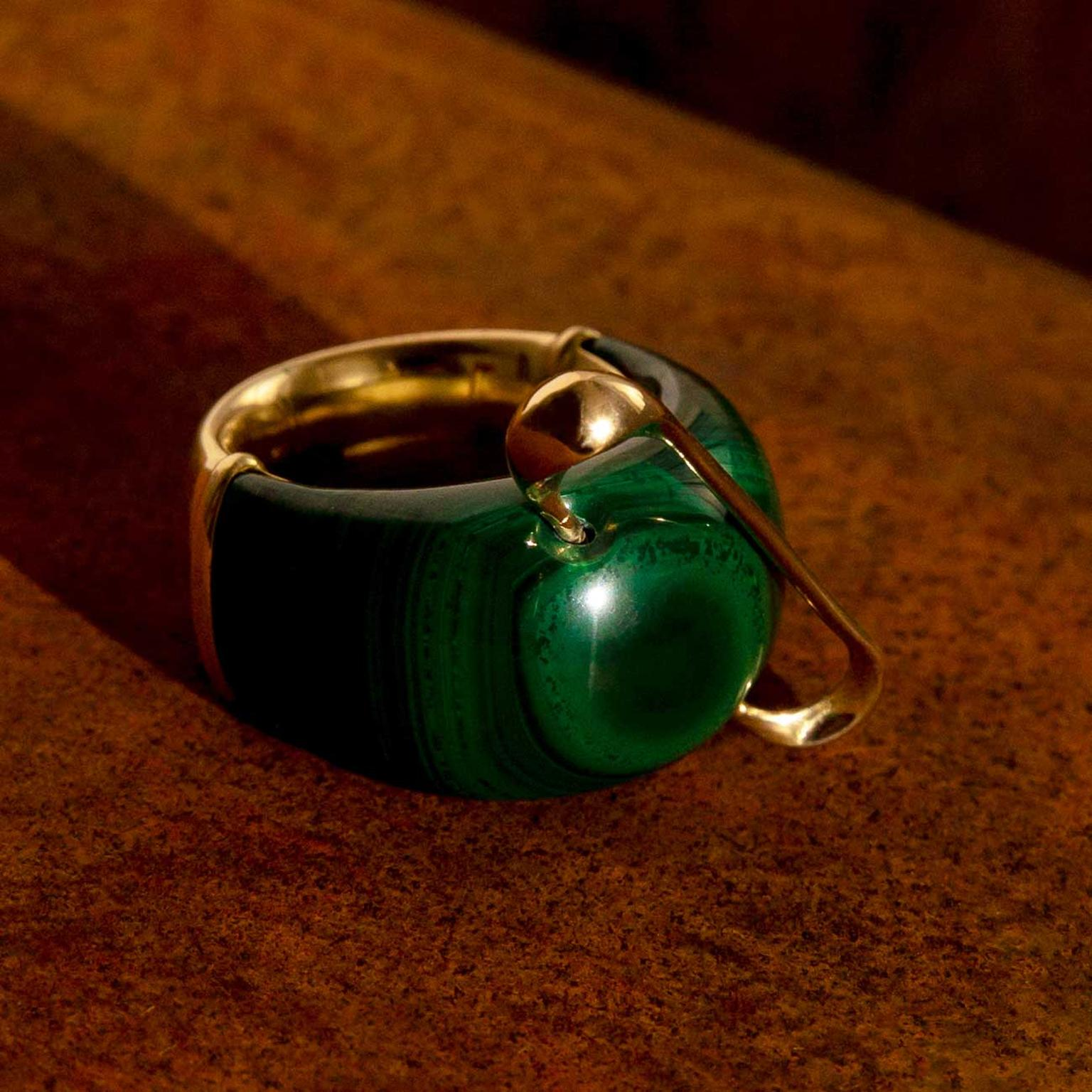 Hannah Martin New Act of Rebellion malachite and gold safety pin ring