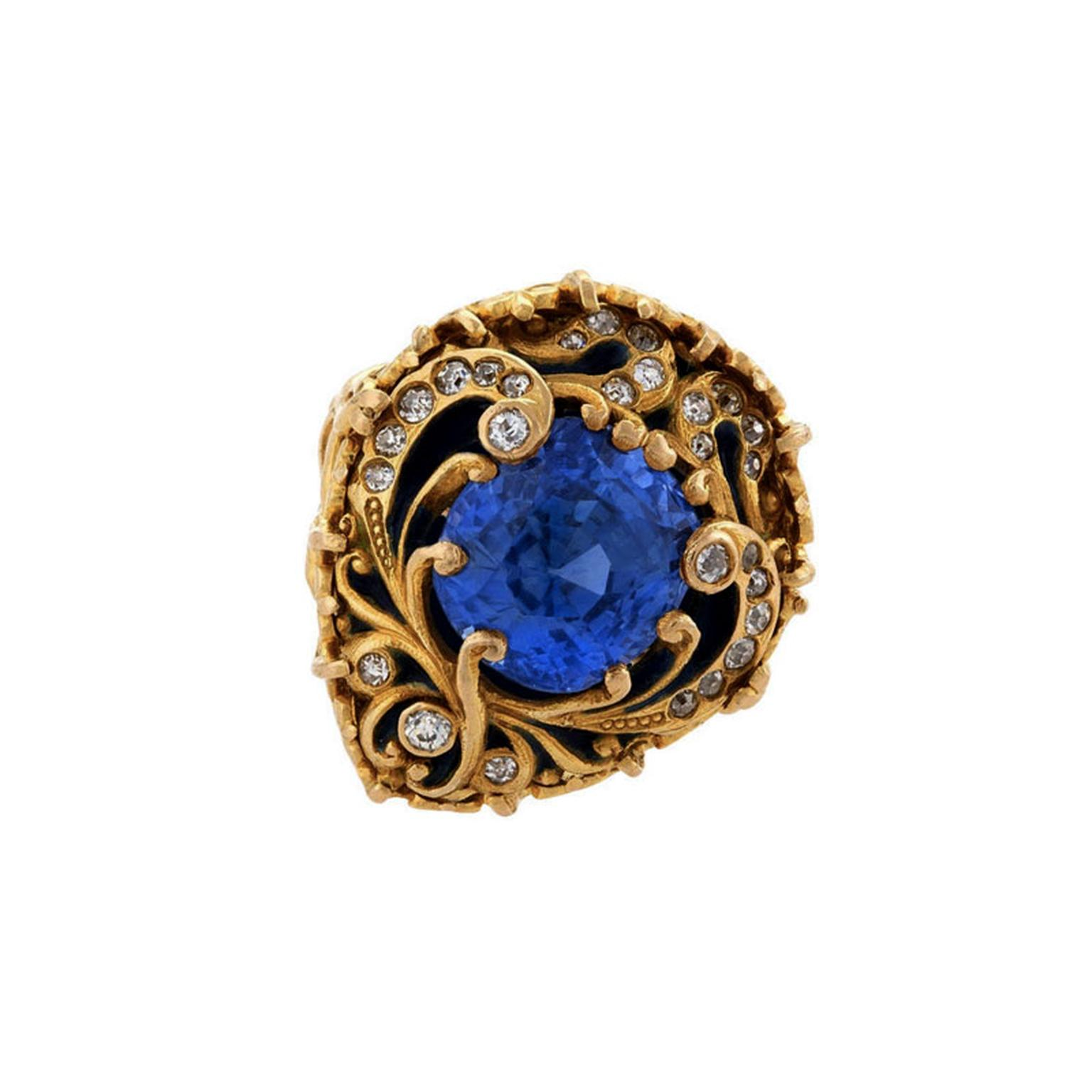 Marcus & Co blue sapphire gold ring from 1stdibs
