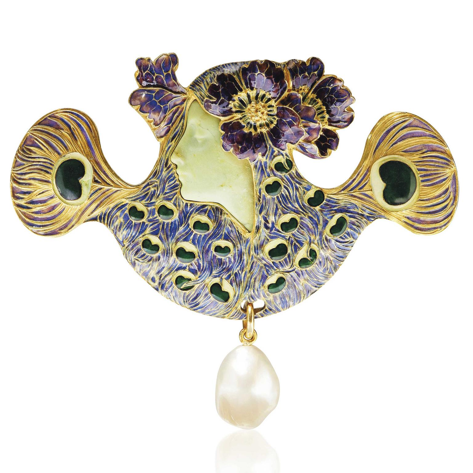 René Lalique Art Nouveau Peacock woman brooch circa 1898