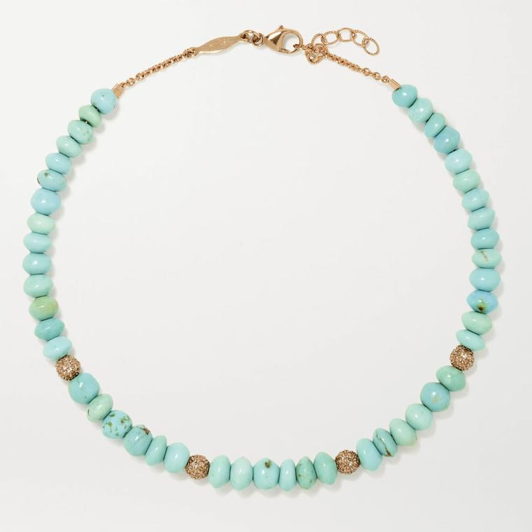 Turquoise anklet by Jacquie Aiche