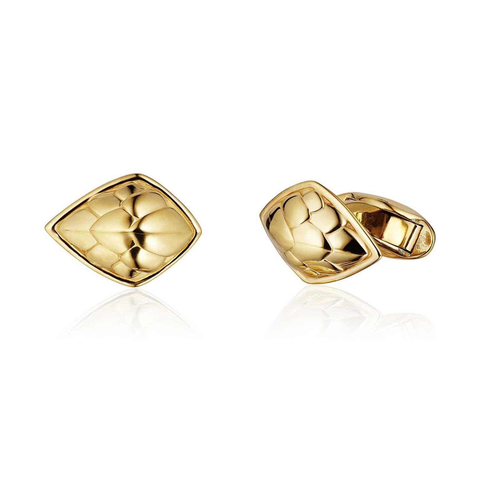 Patrick Mavros Pangolin Shield gold cufflinks