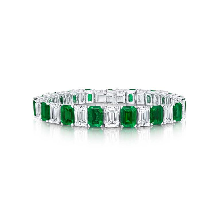 Graff Colombian emerald and diamond tennis bracelet