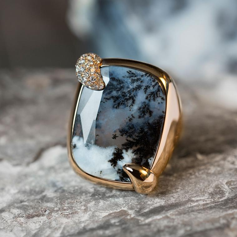Ritratto Stormy Weather dendritic agate ring