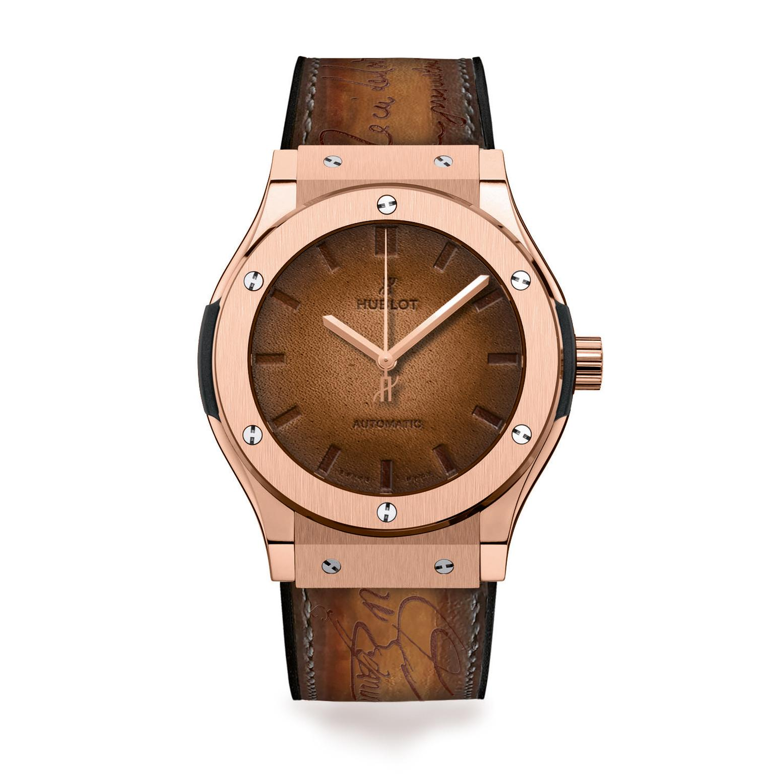 Hublot Classic Fusion watch with Berluti brown leather strap