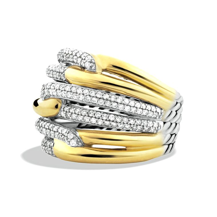 David Yurman triple loop ring in yellow gold with diamonds
