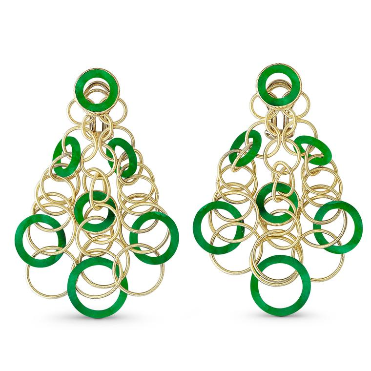 Hawaii Color gold and jadeite earrings
