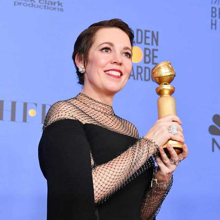 Olivia Colman in David Morris jewellery Golden Globes 2019