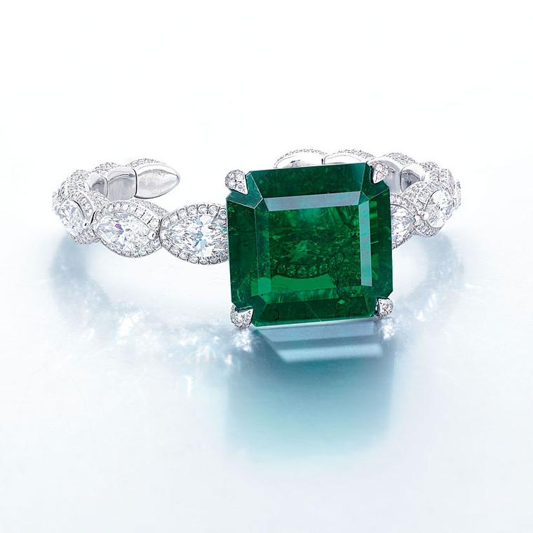 Edmond Chin emerald and diamond bangle