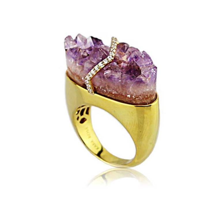 Kara Ross Pangea ring with raw amethyst and diamonds