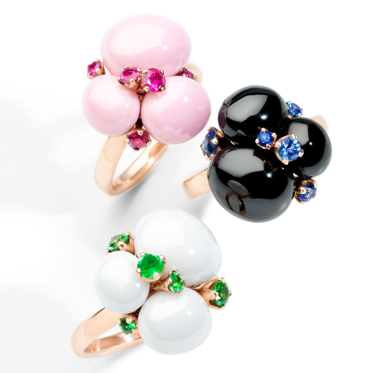 Pomellato Capri rings with cabochon rubies, sapphires and tsavorites