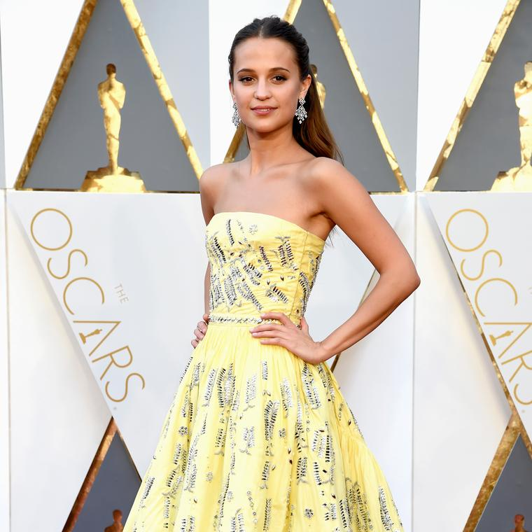 Alicia Vikander in Louis Vuitton diamond earrings