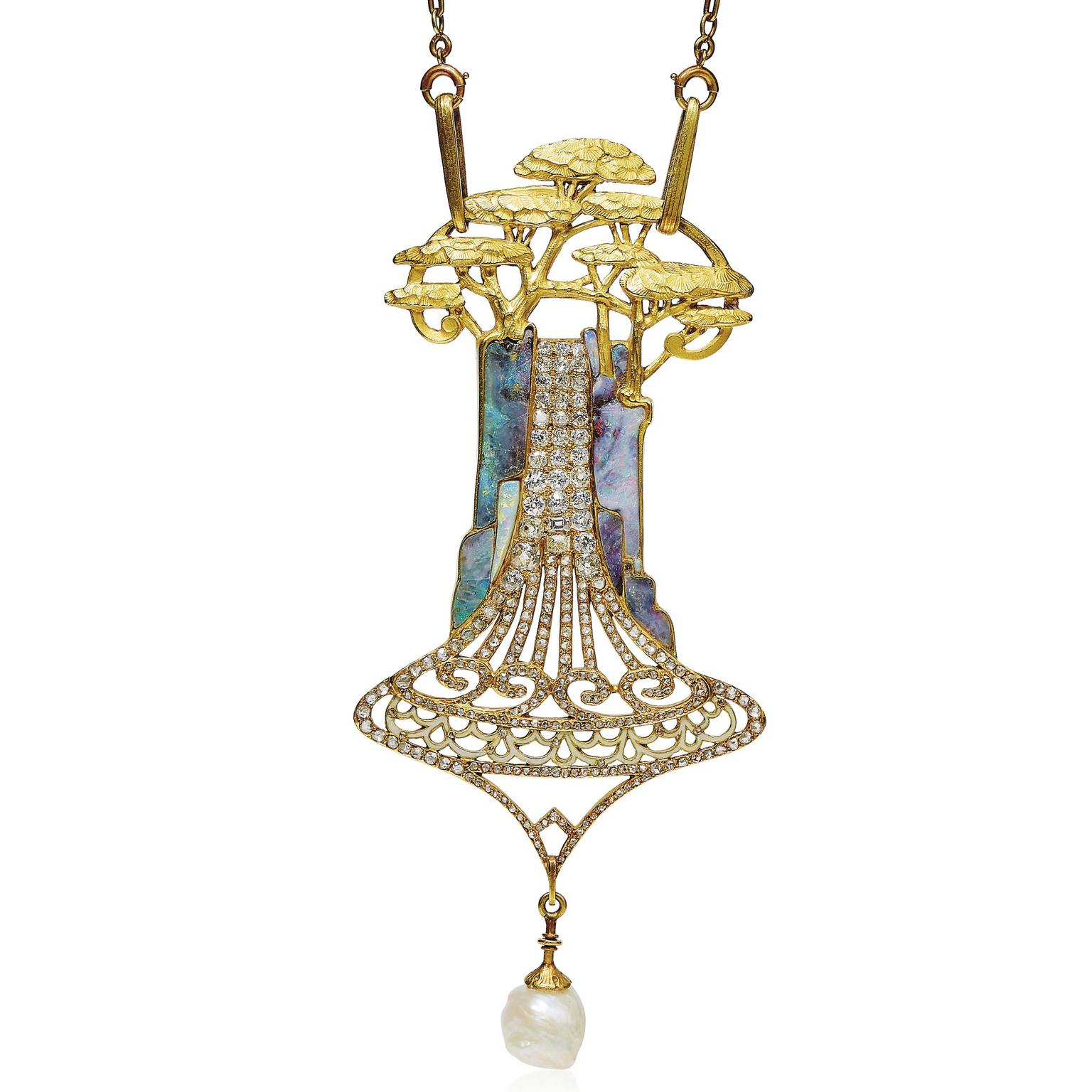 ART NOUVEAU OPAL DIAMOND AND ENAMEL CEDARS PENDANT NECKLACE BY GEORGES FOUQUET