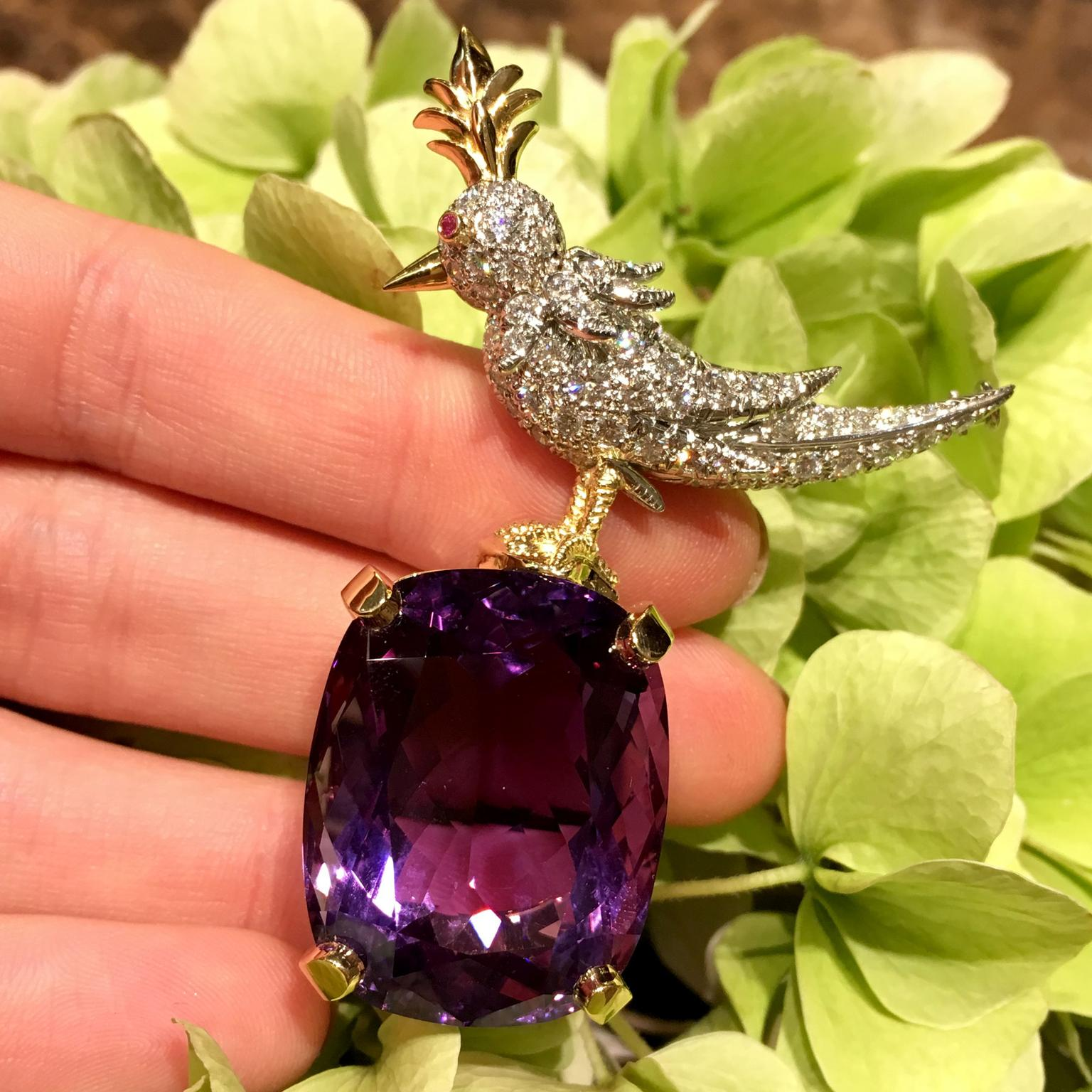 Tiffany Bird on a Rock amethyst brooch