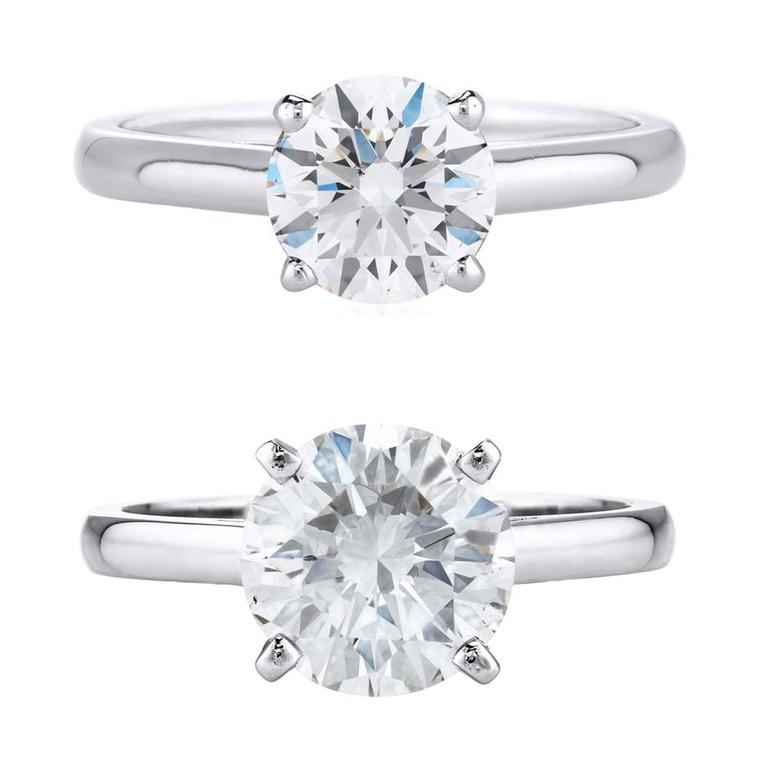 The visual difference between a 1 carat diamond engagement ring and 2 carat diamond engagement ring