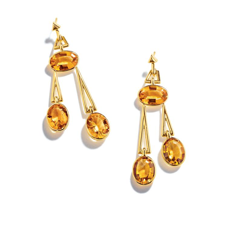 Suzanne Belperron Pendulum citrine earrings