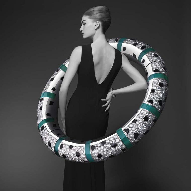Cartier Panthère de Cartier collection white gold bracelet featuring onyx, black lacquer, chrysoprase and diamonds.