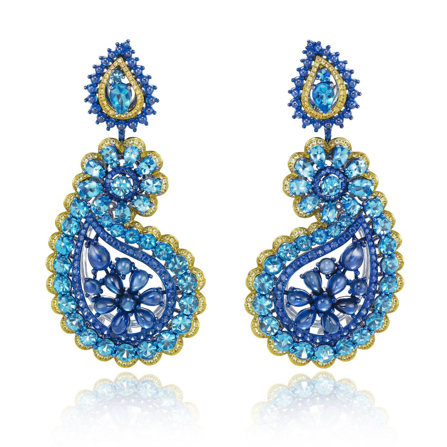 Chopard Red Carpet earrings with topaz, sapphires, orange and blue sapphires
