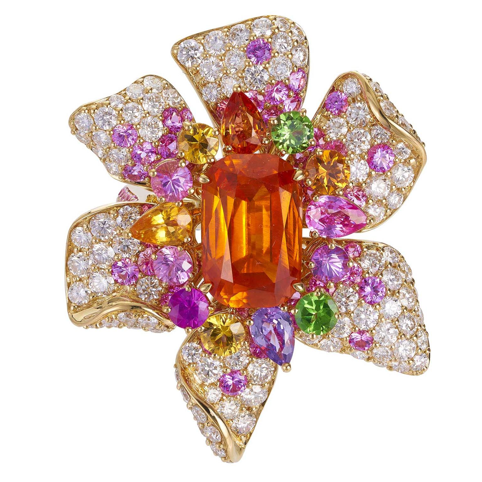 Margot McKinney mandarin garnet flower ring