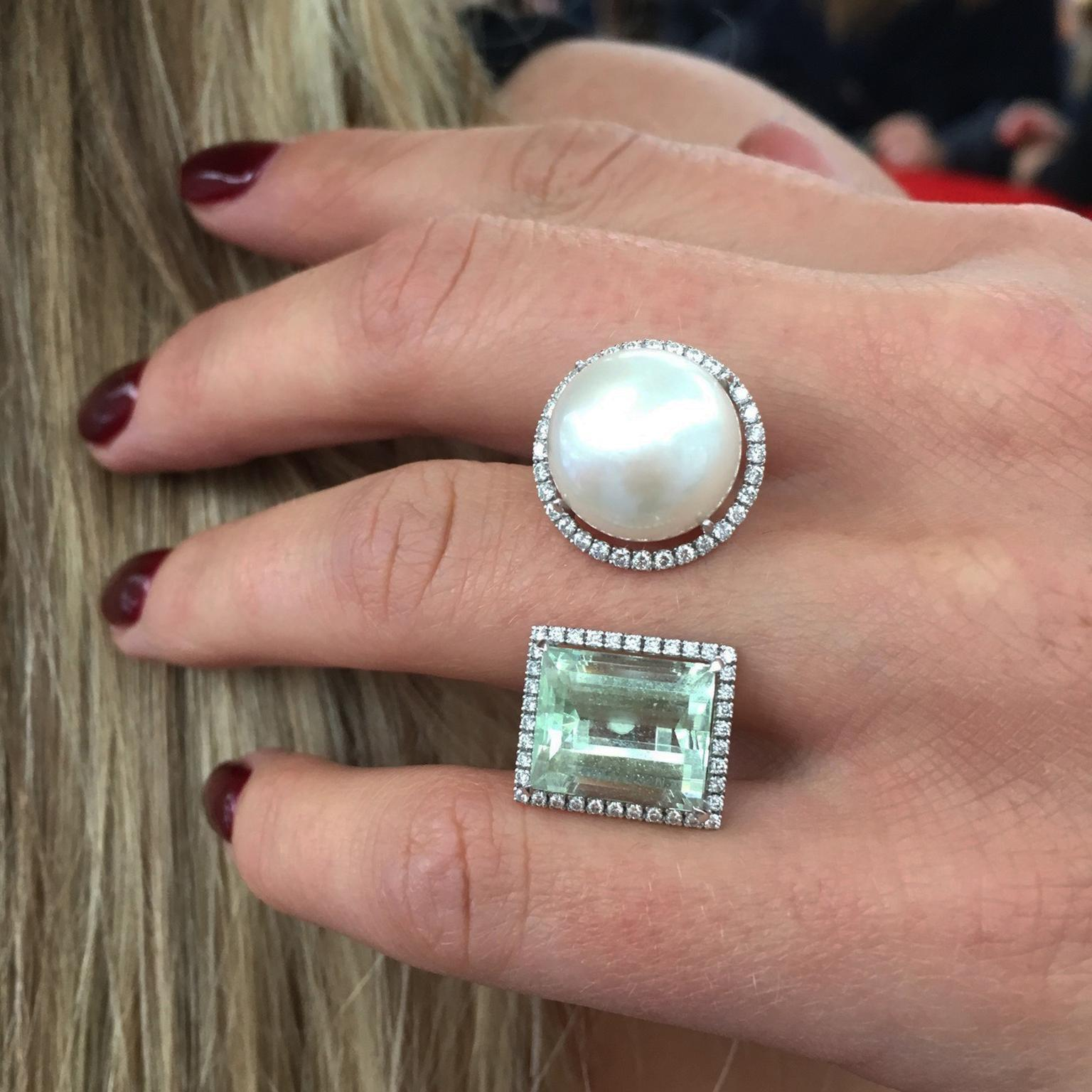 Nadine Aysoy green tourmaline and pearl ring