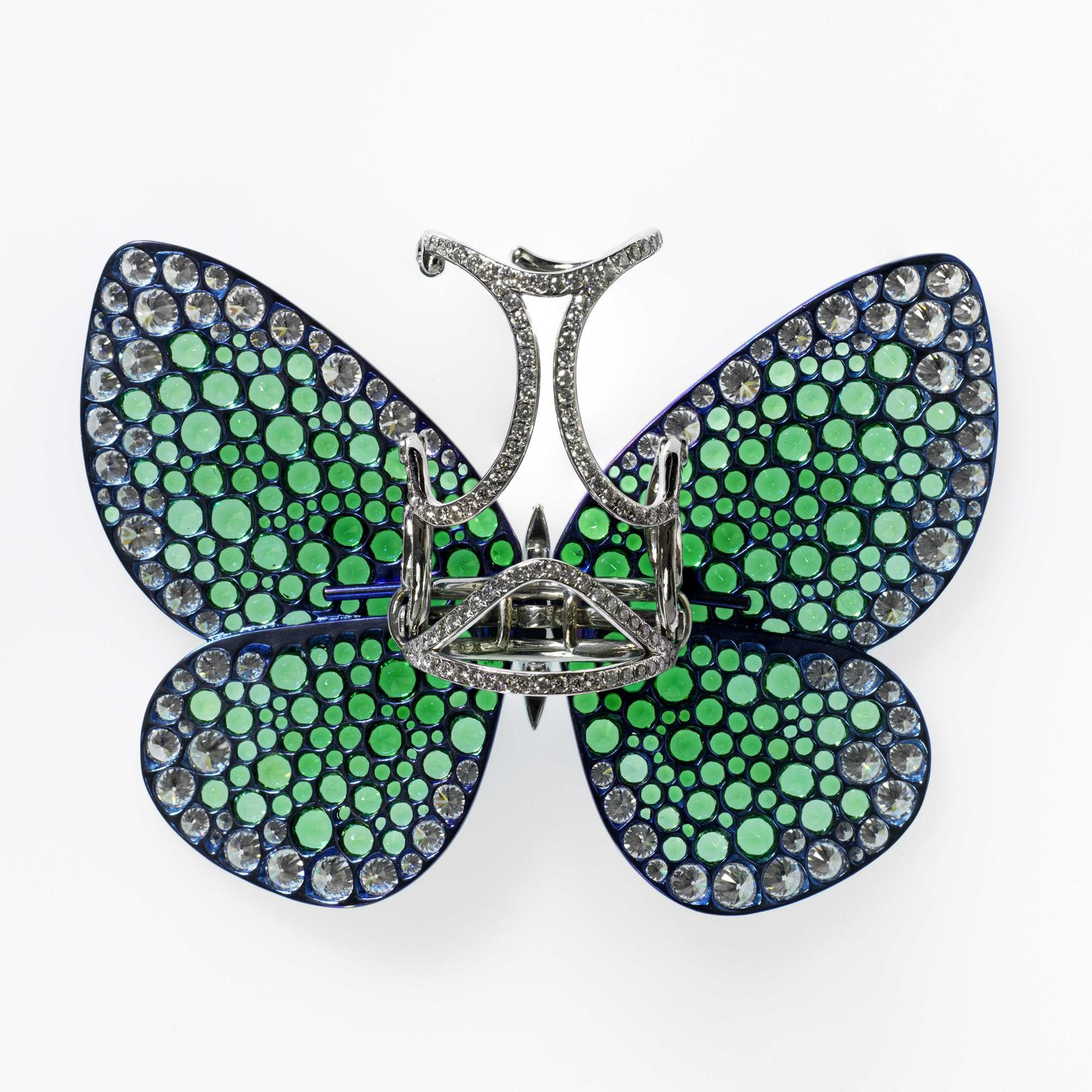 Reverse-side view of the Papillon ring by G Glenn Spiro that Beyonce has donated to V and A museum in London